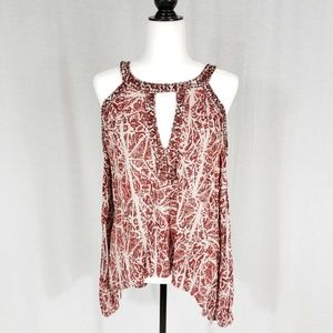 Free People Cold Shoulder Beaded Top